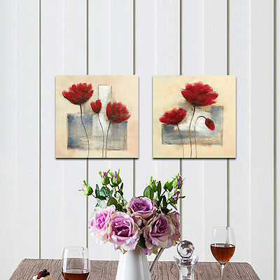 Modern Canvas Print Painting Abstract Flowers Home Decor Wall Art Poster Framed