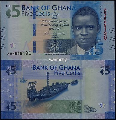 Africa Ghana 2017 Commemorative Banknotes 5 Cedis UNC
