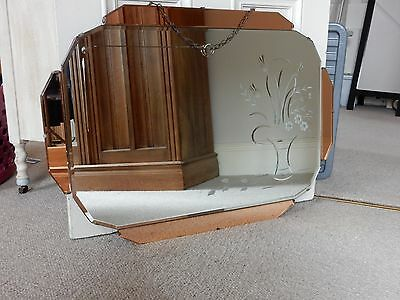 Art Deco Mirror 1930s with etched flowers design