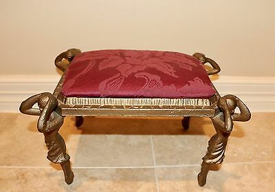 Antique Vintage Cast Iron Ballerina Dancers Step Footstool Stool Upholstered
