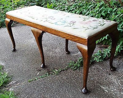 Antique Window Seat or Duo Piano Stool Embroidered Seat Cover Delivery Possible