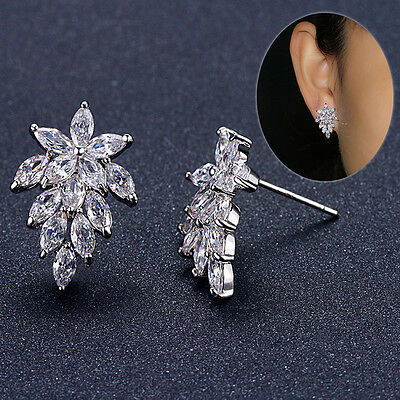 Charm Solid 925 Sterling Silver Cluster Natural Zircon Ear Stud Earrings
