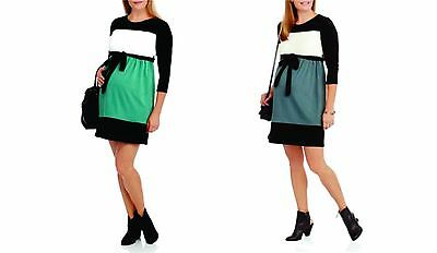 NEW Introspect Maternity 3/4 Sleeve Colorblock Dress w/ Tie Waist, Large