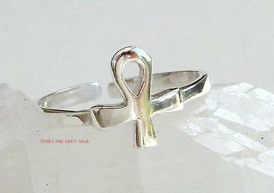 Egyptian Ankh TOE RING MIDI Sterling Silver adjustable pagan spiritual Jewellery