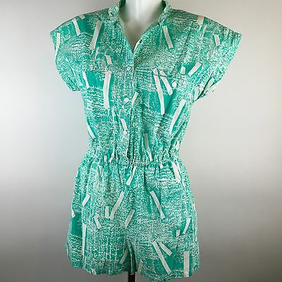 Vtg 90s Swimsuit Coverup Jumper Romper One Piece Mint Green Geometric Sassafras