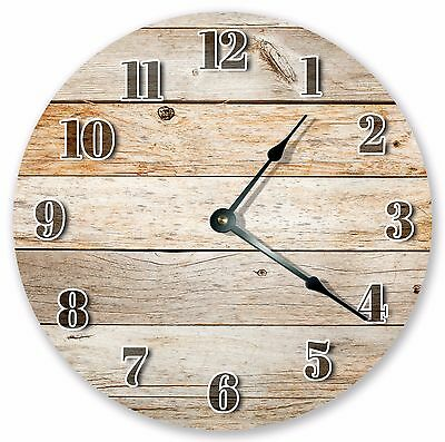 "10.5"" RUSTIC BROWN WOOD BOARDS CLOCK - Large 10.5"" Wall Clock Home Décor - 3071"