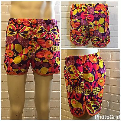 Vintage BRENTWOOD Swimsuit 34 PSYCHEDELIC Retro HIPPIE 60's SURFER Swim Trunks