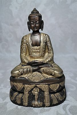 Antique Chinese Tibetan Nepalese Brass Bronze Buddha Statue Figure