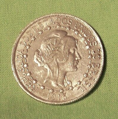 1913 BRAZIL 2000 REIS SILVER CROWN WITH CONNECTED STARS in VF Condition