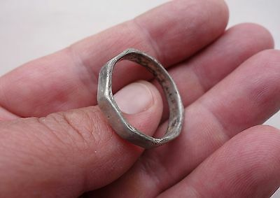 ancient Celtic, or early Roman Silver ring with polygonal shape