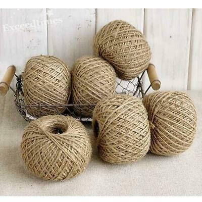 50Yds Shabby Hessian Jute Rustic Twine Ball DIY Tie Back Natural Brown String