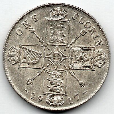 Great Britain 1 Florin 1917 (92.5% Silver) Coin