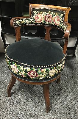 Antique Needlepoint Floral Upholstery Round Chair Circa 1850s