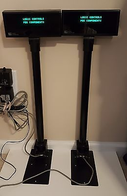 Lot of 2 Logic Controls PAX1-308 Black POS Register Pole Display's