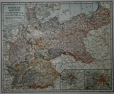Antique 1919 Atlas Map World War WWI German Empire & Northern Part South America