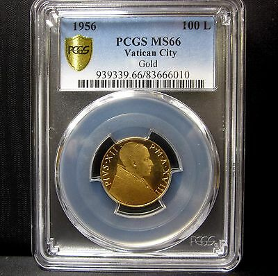 1956 Vatican City 100 Lira Gold ✪ Pcgs Ms-66 ✪ Uncirculated Unc Italy ◢Trusted◣