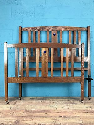 Arts and Crafts Oak Double Bed, Ruskin cabochon (100443)