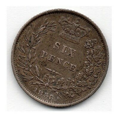 Great Britain 6 Pence 1853 (Sixpence) (92.5% Silver) Coin