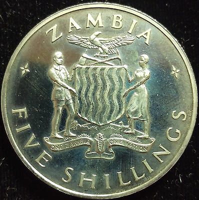 1965 Zambia 5 Shilling Coin Proof #490