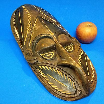 PNG Papua New Guinea - Wood Artifact - 39cm Carved & Stained Tribal Mask -