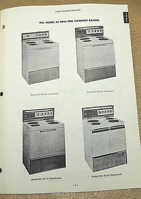 Frigidaire Electric Range RS-30-61 RS-38-61 RS-39-61 RS-39-61   1961