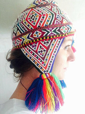 Fine Beaded Shaman Ch'ullo from Q'ero Peru Wool Blend Winter Hat Chullo Earflaps
