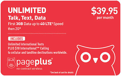 Page Plus $39.95/Month Refill -- Unlimited Talk/Text/Data With 3GB of 4G/LTE