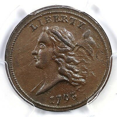 1793 C-2 R-3 PCGS MS 62 BN Liberty Cap Half Cent Coin 1/2c