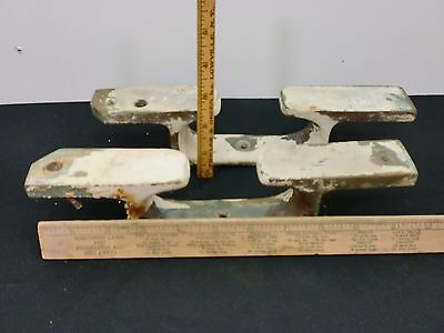 pair of maritime salvage ship cleats chock brass 11 inches