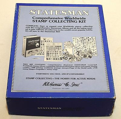 Statesman Comprehensive Worldwide Stamp Collecting Kit DELUXE Album Harris w/Box