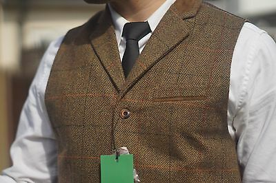 Mens Milano Tweed Waistcoat Notched Lapel  Vintage Collared Check Slim Fit