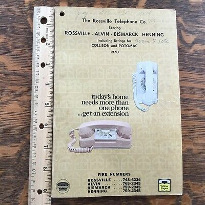 Vintage, Old Book, Telephone Directory 1970, Rossville Illinois, ads