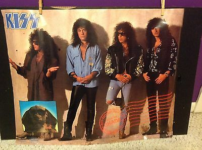 """KISS 1989 Hot in the Shade Original Promo Poster 24x30"""" No Makeup Excellent"""