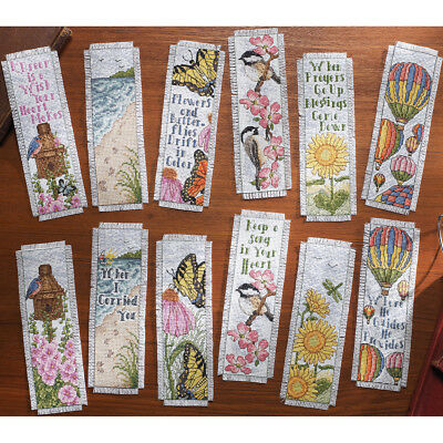 """Bucilla Inspired By Nature Bookmarks Counted Cross Stitch Kit-2.5""""X8"""" 14 Count S"""