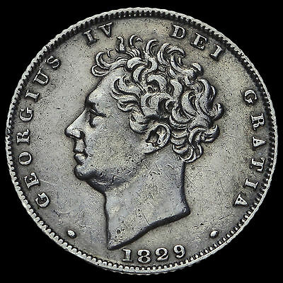 1829 George IV Bare Head Milled Silver Sixpence