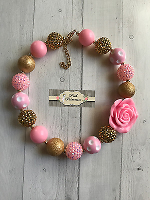Baby, Toddler Girls Chunky Bubblegum Necklace Pink & Gold Birthday Girl Necklace