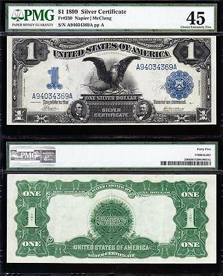 Awesome HIGH GRADE Fr. 230 1899 $1 BLACK EAGLE Silver Cert! PMG 45! A94034369A