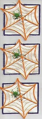 3 Satin Spider In Web Embroidered Patch Sew On Vintage, But Virgin