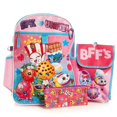 Shopkins Girls School Backpack Lunch Box Book Bag Set Kooky Cookie D'Lish Donut