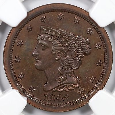 1845 2nd Restrike R-6 NGC PF 67 Braided Hair Half Cent Coin 1/2c