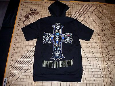 Adult Small Black Pull Over Guns & Roses Apetite For Destruction Hoodie - Nwt