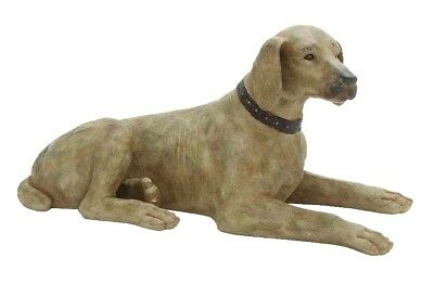 Stylish And Simple Poly Stone Sitting Dog Statue In Khaki Finish Home Decor