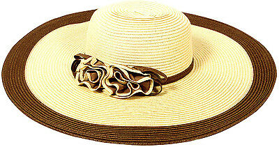 Women Floppy Derby Hat Wide Large Brim Flower Décor Beach Straw Sun Cap