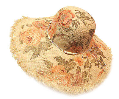 Fashion Women Summer Flower Floral Print Large Wide Brim Beach Sun Bowler Hat