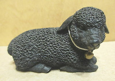 "Black Resting 3"" Sheep w Bell Figurine Porcelain Ceramic Farm   b8c"