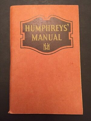 1920's Humphrey's Manual Homeopathic Remedies Quack Medicine Booklet Vintage