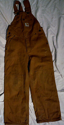 Kids CARHARTT 24 X 19 Brown canvas cotton Youth Bib Overall size 8 zipper fly