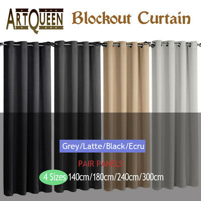 2PCS Blockout Curtains 3 Layers Eyelet Pure Fabric 100% Blackout Room Darkening