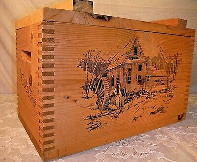 The Classic By Evans Wood Wooden Ammo Box 1994 Old Mill Scene Rustic Man Cave