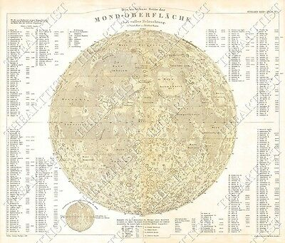 LARGE VINTAGE historic PERTHES 1880 Map of the Moon OLD ANTIQUE lunar MAP
